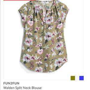 Floral olive blouse